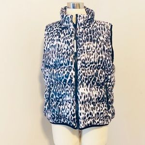 Andrew Marc Animal Print Down Vest / Winter/ Fall
